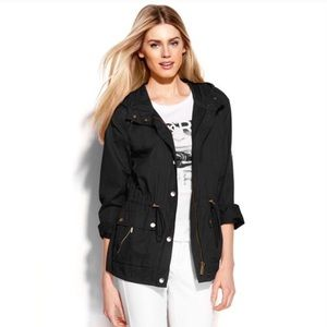 Michael Kors Black Anorak Rain Windbreaker Jacket